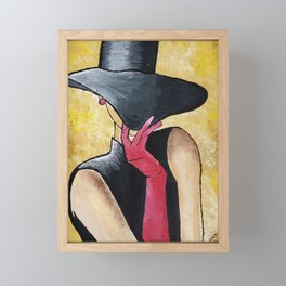 Lady in black hat and red gloves Framed Mini Art Print