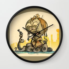 Octupus Cowboy in Wild West Wall Clock