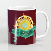 sun and moon Mugs featuring Sun & Moon by Amanda Jonson
