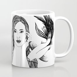 Woman with fishes - Ink artwork Coffee Mug