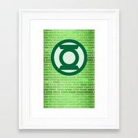 green lantern Framed Art Prints featuring Green Lantern by DeBUM