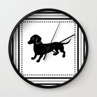 dachshund Wall Clocks featuring Dachshund by Antique Images