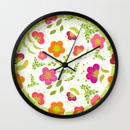 Bright Rounded Flowers on Bed of Pale Green Leaves (pattern) Wall Clock