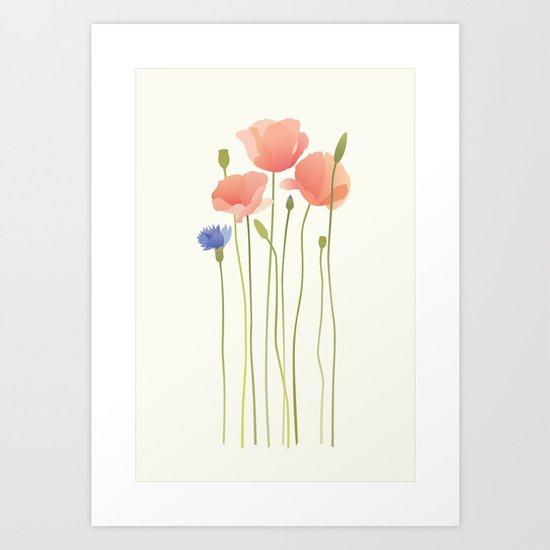 Blushing Poppies II Art Print