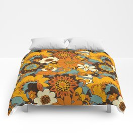 70s Retro Flower Power 60s floral Pattern Orange yellow Blue Comforters