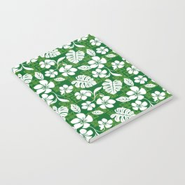 Green and White Aloha Hawaiian Flower Blooms and Tropical Leaves Pattern Notebook