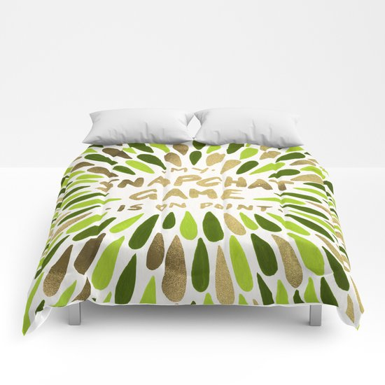 Snapchat – Green & Gold Comforters