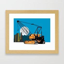 Construction Crane Hoist Retro Framed Art Print