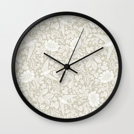 Vintage Elegant White Ivory Cream Swallows Floral Wall Clock