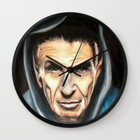 spock Wall Clocks featuring Spock by James Kruse
