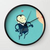 vampire diaries Wall Clocks featuring The vampire love by thinkgabriel