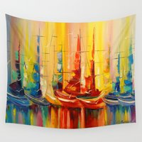 boats Wall Tapestries featuring Rainbow boats by OLHADARCHUK