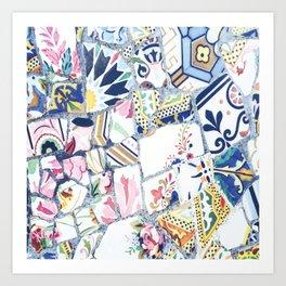 Gaudi Park Guell Mosaic Art Print