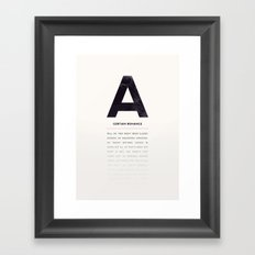 A Certain Romance Framed Art Print