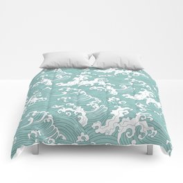 Traditional Hand Drawn Japanese Wave Ink Comforters