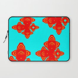 Retro Red Decorative Shapes on Turq Background Laptop Sleeve