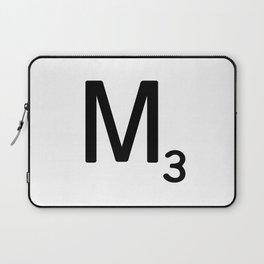 Letter M - Custom Scrabble Letter Tile Art - Scrabble M Initial Laptop Sleeve