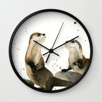 otters Wall Clocks featuring Otters by Priscilla George