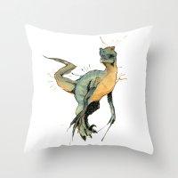 dinosaur Throw Pillows featuring Dinosaur by Nicola Girello
