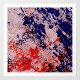 Hot And Cold - Textured Abstract In Blue, Red And Black Art Print