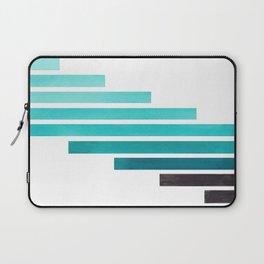 Blue Teal Turqoise Midcentury Modern Minimalist Staggered Stripes Rectangle Geometric Aztec Pattern Laptop Sleeve