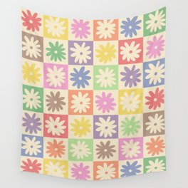 Colorful Flower Checkered Pattern Wall Tapestry