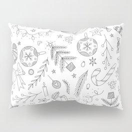 White Christmas Doodles Pillow Sham