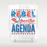 rebel Shower Curtains featuring Rebel by Word Quirk