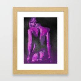Beautiful Young Woman Wearing Plaits and Panties (Purple) Framed Art Print