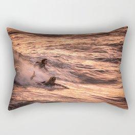 Girls catching a wave together Rectangular Pillow