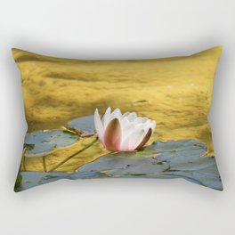 Water Lily In A Sea Of Gold Rectangular Pillow