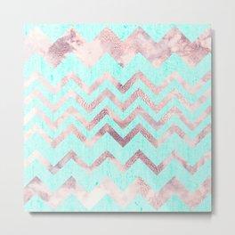 Turquoise blush pink purple geometrical chevron Metal Print