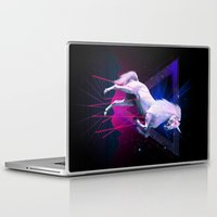 the last unicorn Laptop & iPad Skins featuring The last laser unicorn by Robert Farkas