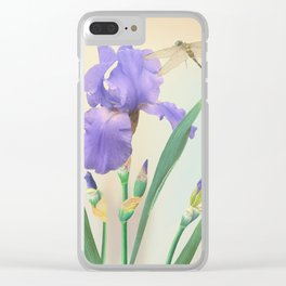 Wild Iris and Dragonfly Clear iPhone Case