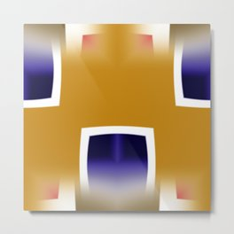 Yellow and Blue Abstract Art Metal Print