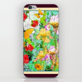 YELLOW IRIS BUTTERFLY SPRING GARDEN BURGUNDY TRIM iPhone Skin