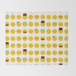 Cheeky Emoji Faces Throw Blanket