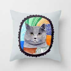 KITTY / GREY Throw Pillow