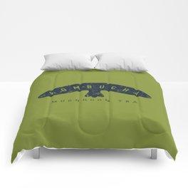 Kombucha Mushroom Tea // Moss Green and Blue Abstract Graphic Design Artwork Comforters