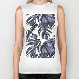 Classic Palm Leaves Navy Blue Biker Tank