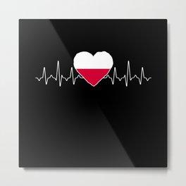 Poland Heartbeat Flag Metal Print