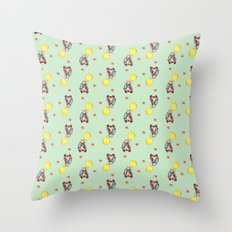 Mr. Bear is a talented scooterist Throw Pillow