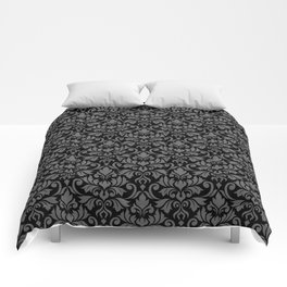 Flourish Damask Big Ptn Gray on Black Comforters