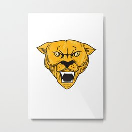 Angry Cougar Mountain Lion Head Drawing Metal Print