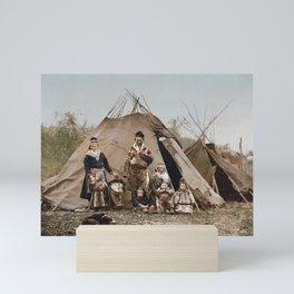 A Lapp Family Outside Their Tent - Norway Circa 1900 Photochrom Mini Art Print