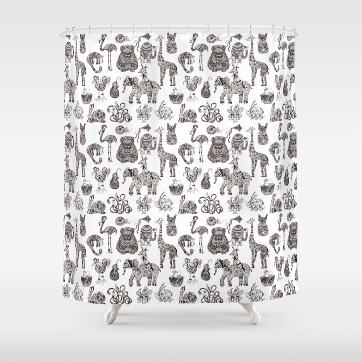 Fancy Animals In Black And White Shower Curtain