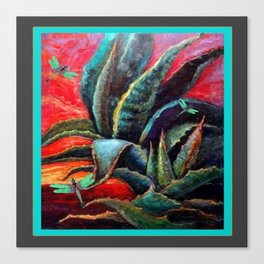 SOUTHWEST DESERT AGAVE & BLUE DRAGONFLIES Canvas Print