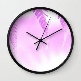Fern Art, Pink Fern Wall Art Photography Wall Clock