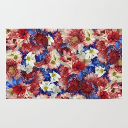 Red White Blue Flora Rug