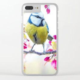 Romantic Flower Blossom with blue tit spring bird Clear iPhone Case